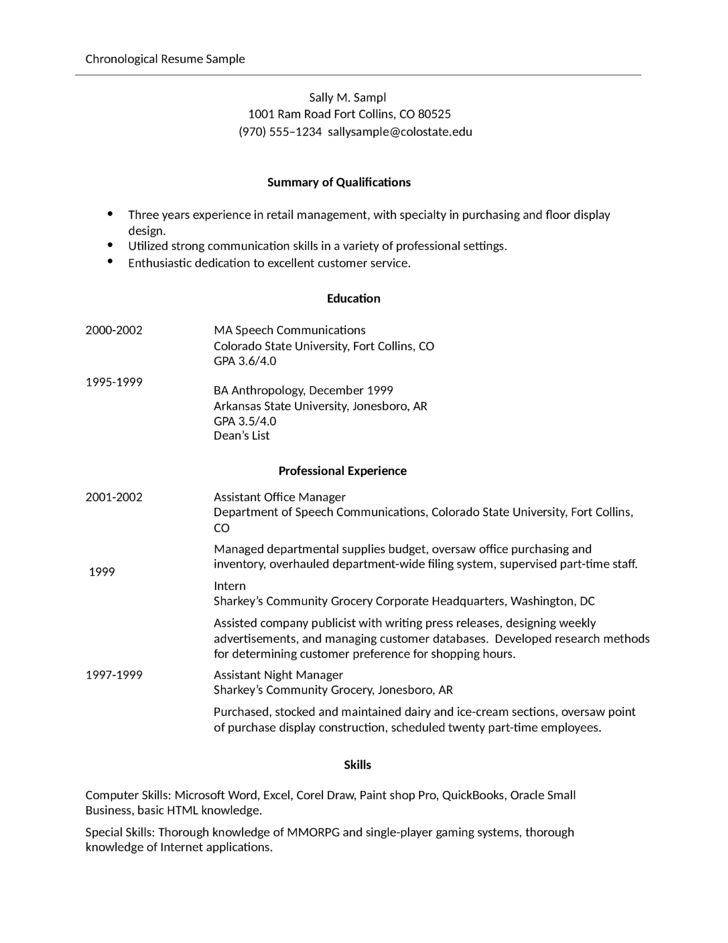 Simple Store Manager Resume Example Template