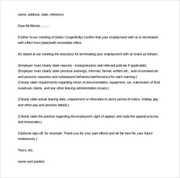 sample employee termination letter template employment termination ...