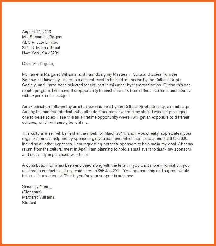 sponsorship letter   sop example