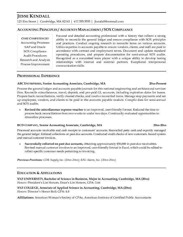 Absolutely Smart Accounting Resume Samples 14 Sample Resumes Cpa ...