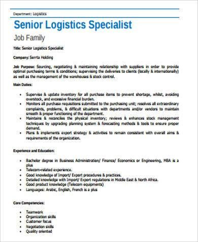Lovely Logistics Specialist Job Description Sample   7+ Examples In Word, PDF Pictures Gallery