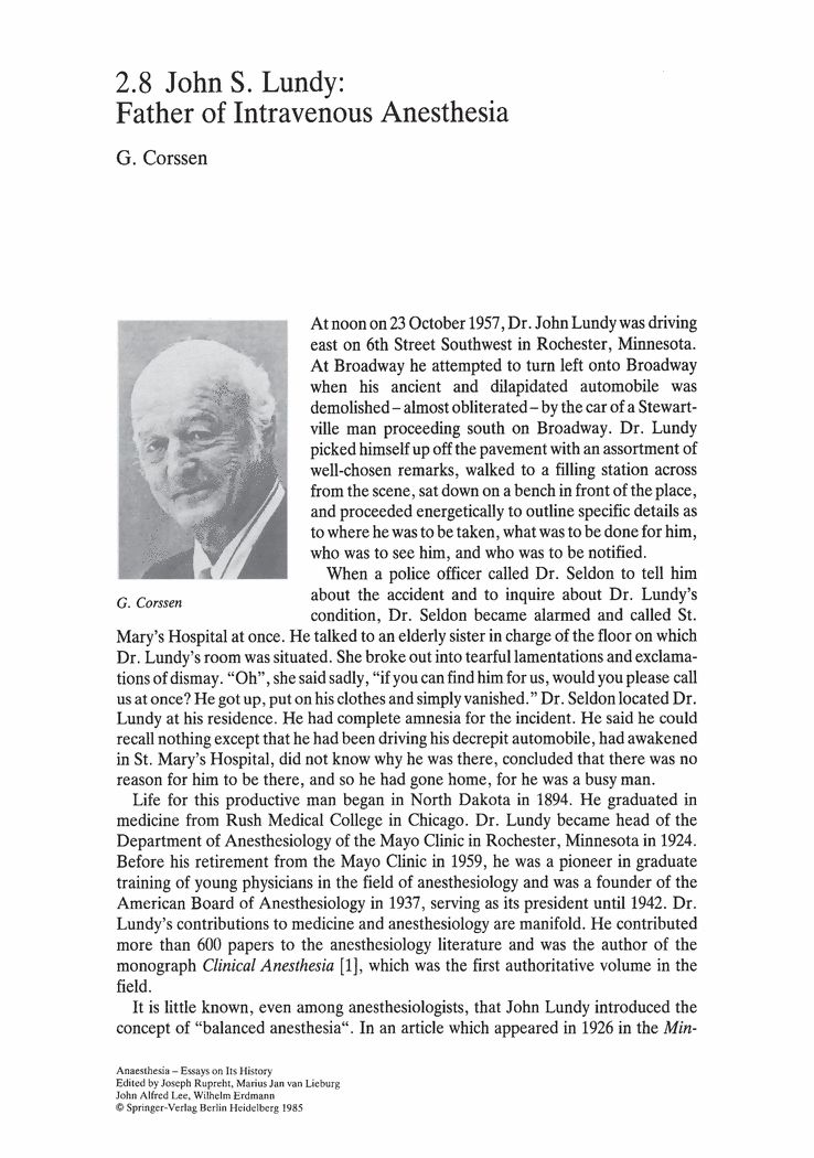 John S. Lundy: Father of Intravenous Anesthesia - Springer