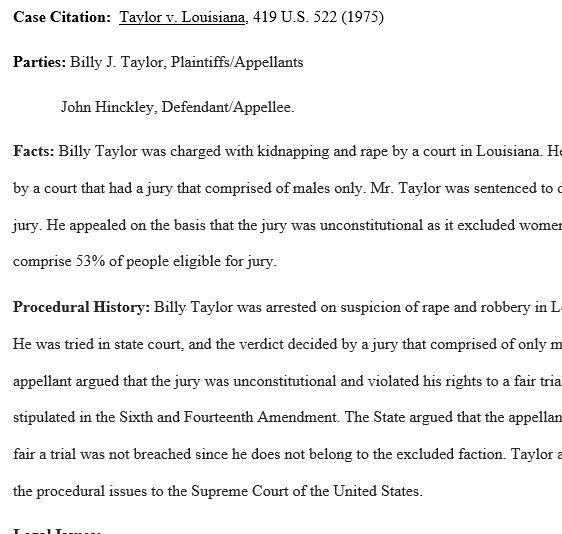 Case Brief: Taylor v Louisiana – Regent Essays