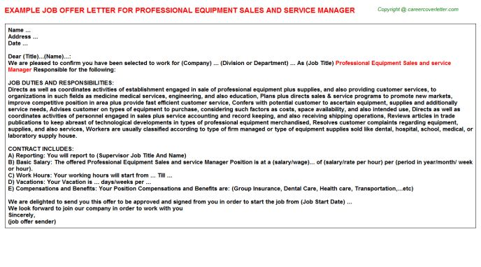 Professional Equipment Sales And Service Manager Offer Letter