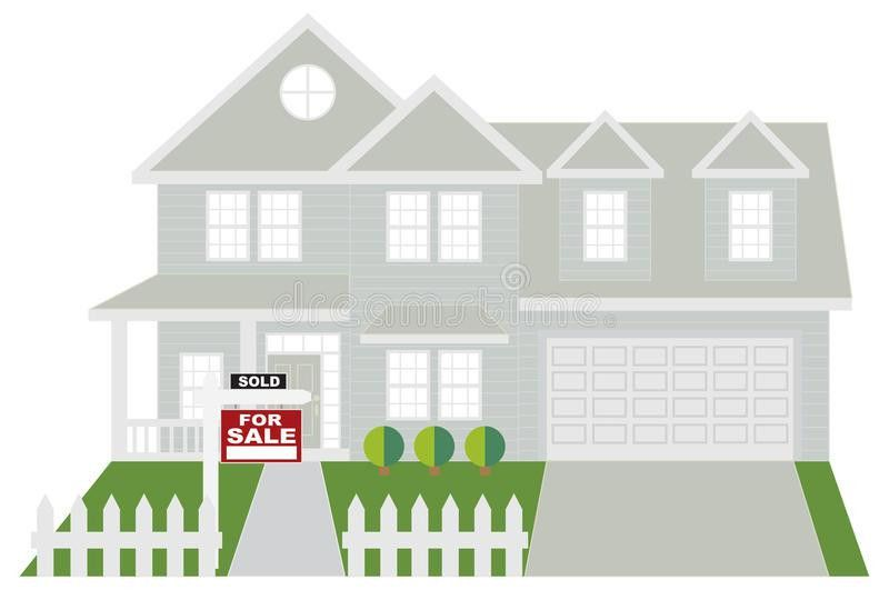 House Sold With For Sale Sign Color Vector Illustration Stock ...