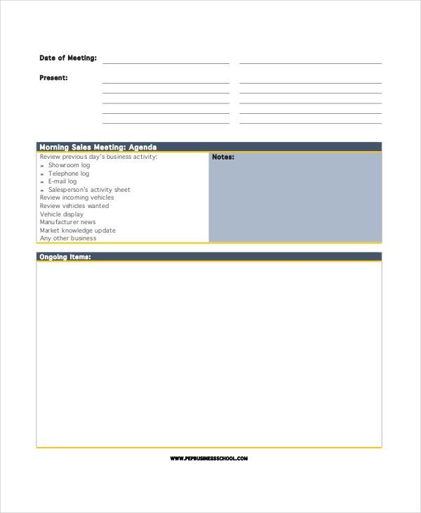 Sales Agenda Template - 5+ Free Word, PDF Documents Download ...