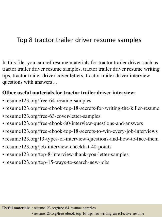 tow truck driver resumes