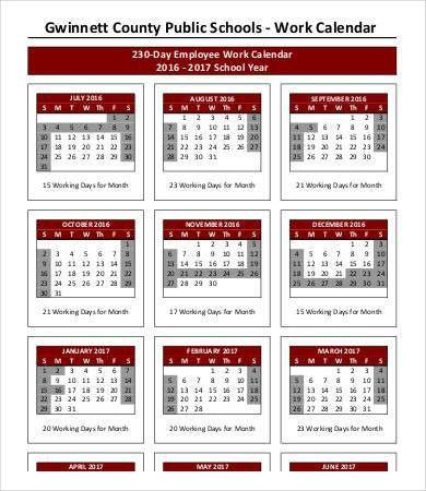 Work Calendar Template - 9+ Free Word, PDF Documents Download ...