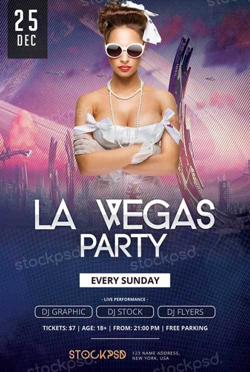 Download La Vegas Party Free PSD Flyer Template for Photoshop