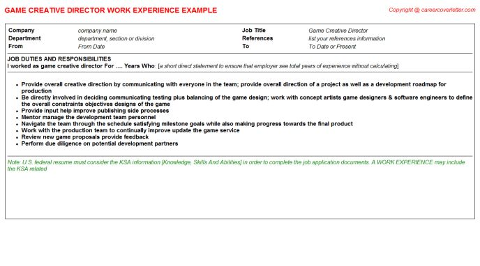 Game Mathematician CV Work Experience Samples