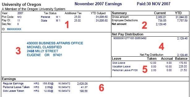 Example Earning Statement | Business Affairs