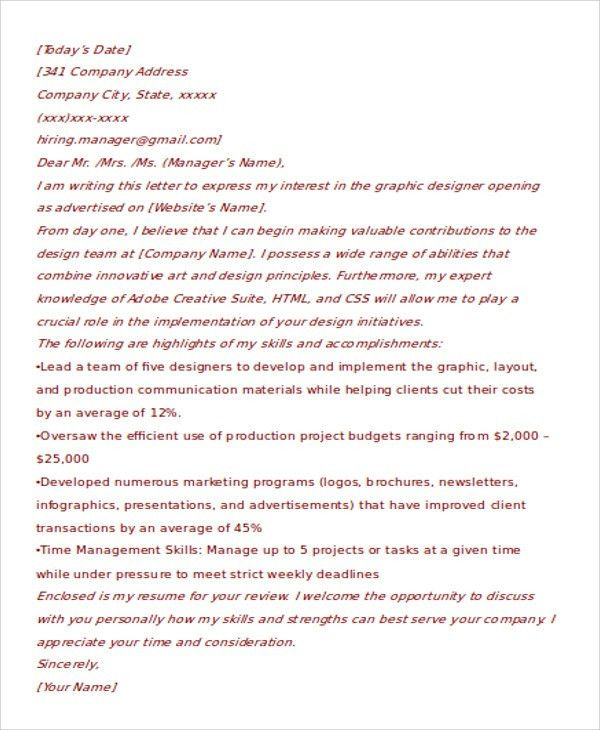 8+ Graphic Designer Cover Letters - Free Sample, Example Format ...