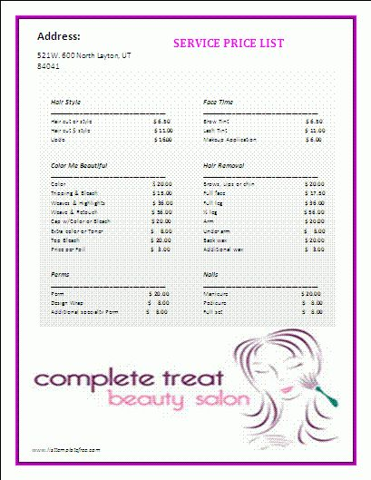 Price List Template | Formsword: Word Templates & Sample Forms