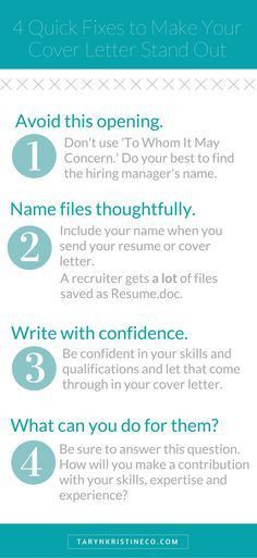 Make sure your cover letter stands out. … | Pinteres…