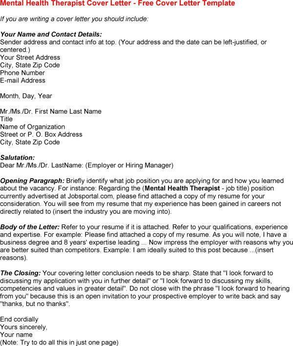 Community Mental Health Worker Cover Letter
