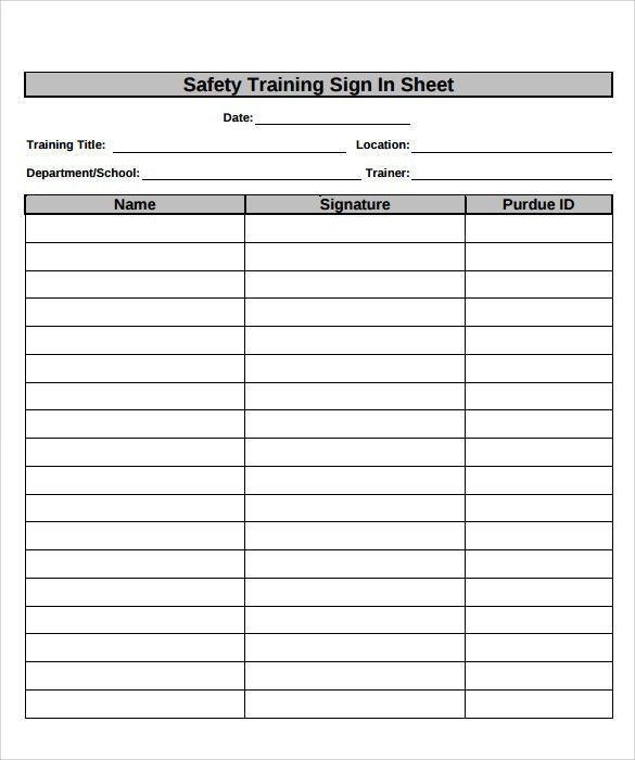 Attendance Sheet Format For Training