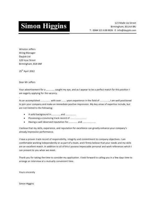 awesome collection of sample cover letter cv for letter template ...