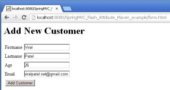 Spring MVC Flash Attributes tutorial. Flash Attribute example