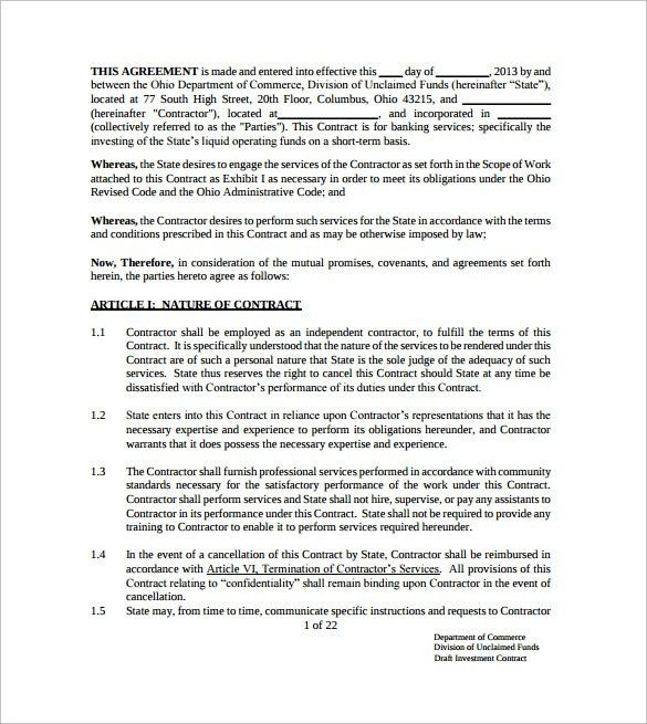 Investment Contract Templates - 8+ Download Free documents in PDF ...