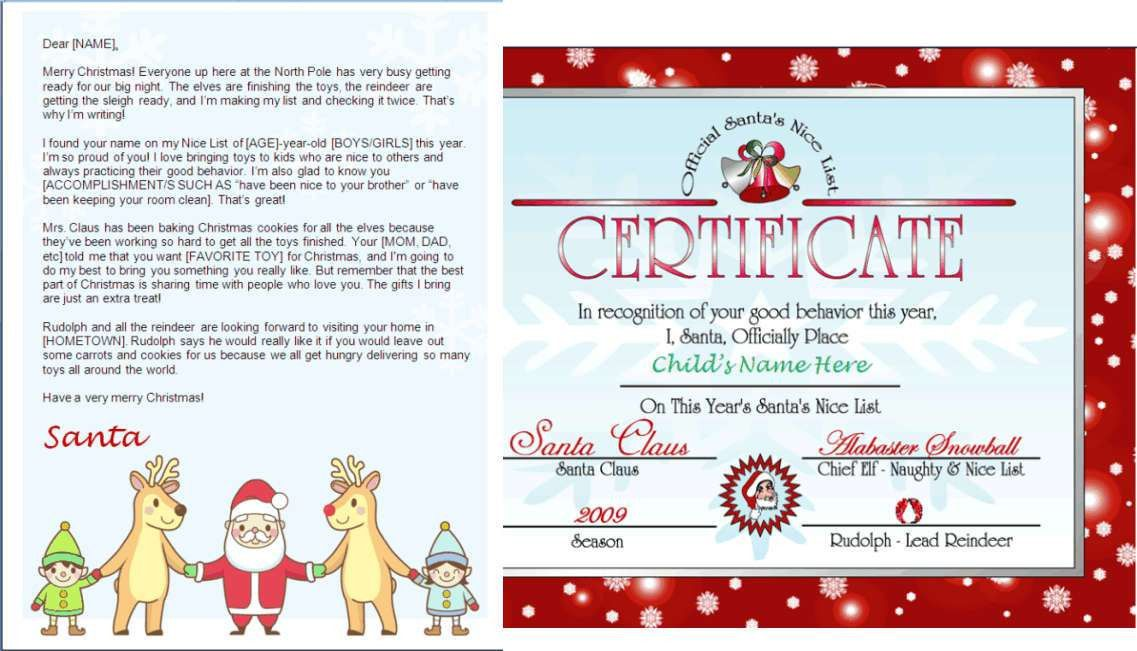 Printable Santa Letter and Nice List Certificate - Santa and ...