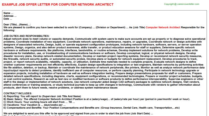 Computer Network Architect Offer Letter