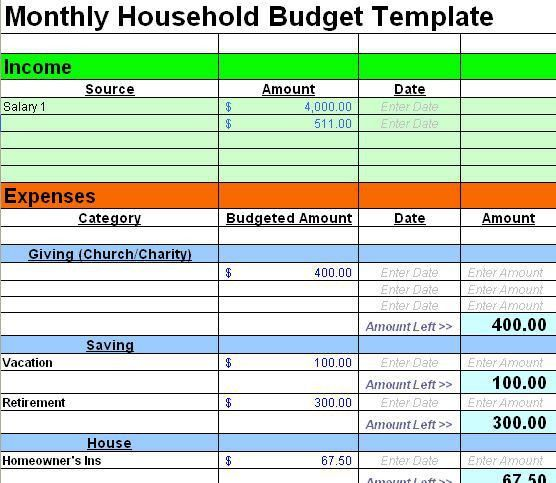 excel home budget template - Template
