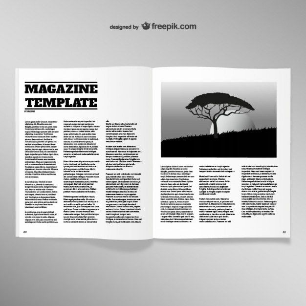 Opened magazine blank page template Vector | Free Download