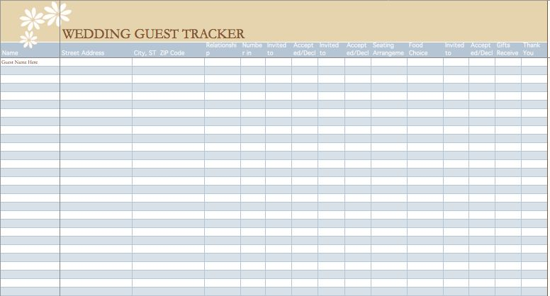 Wedding Guest List Example | Microsoft Excel Templates