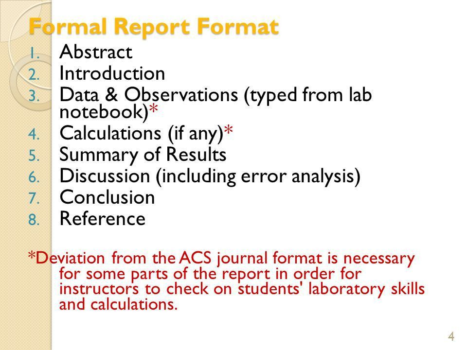 Layout Of A Formal Report - formats.csat.co