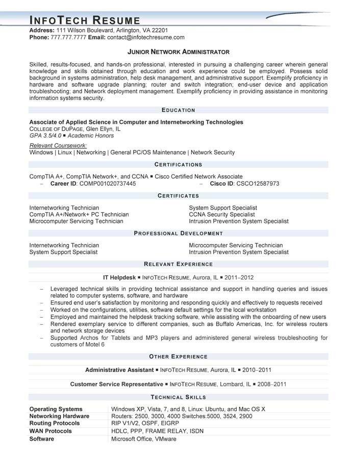 Network Administrator Resume Sample | jennywashere.com