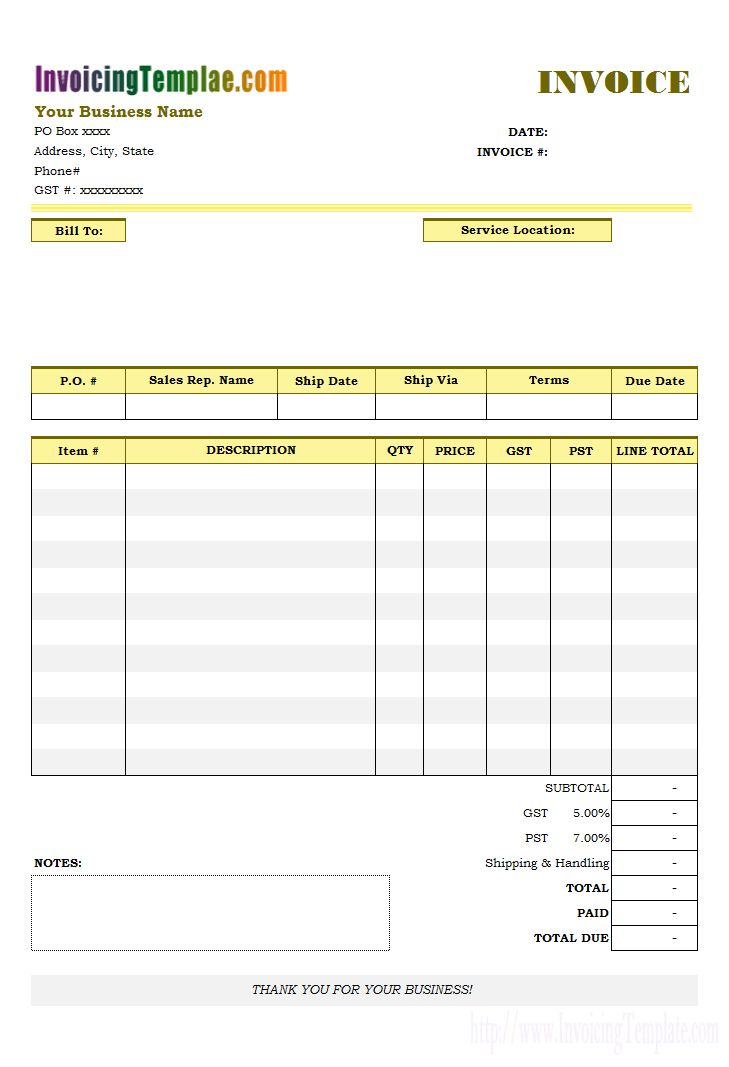 Handyman Invoice Template (Sales Tax)