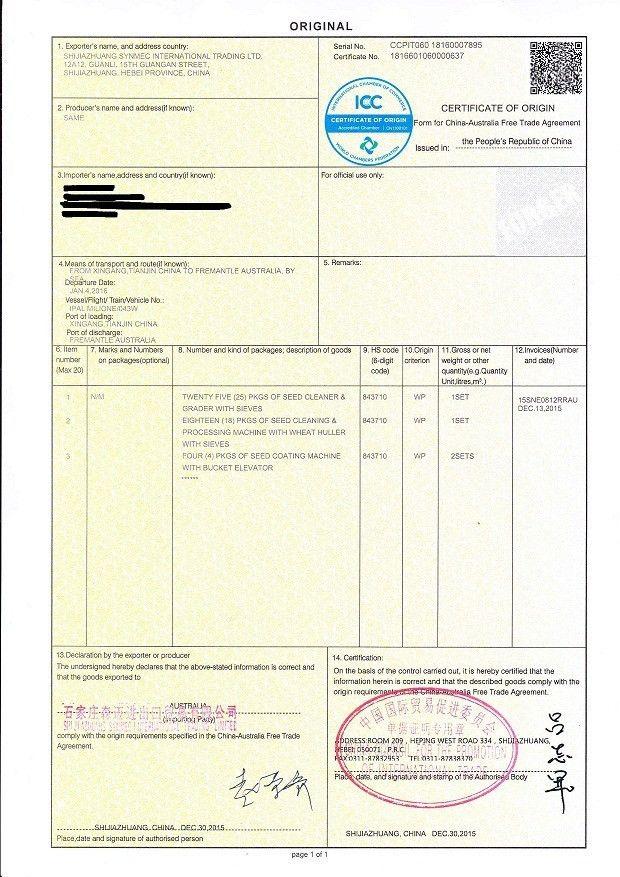 Certificate of Origin Form for China-Australia free trade ...