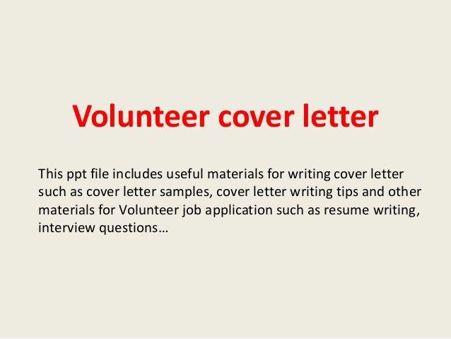 Community Volunteer Cover Letter