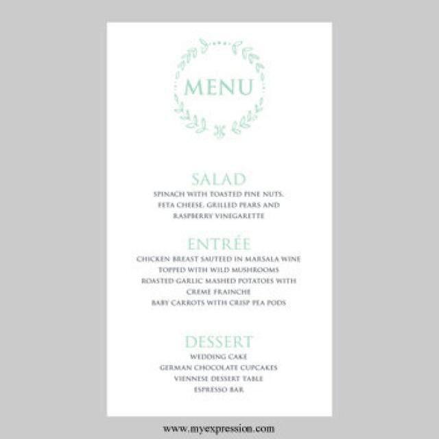 Wedding Menu Card Template – Mint Seafoam Leaf Wreath - Instant ...