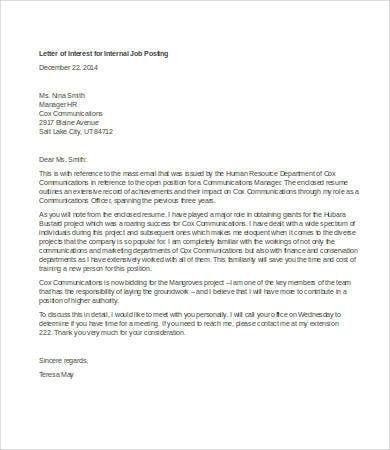 Letter Of Interest For Job. Email Template Letter Of Interest Or ...