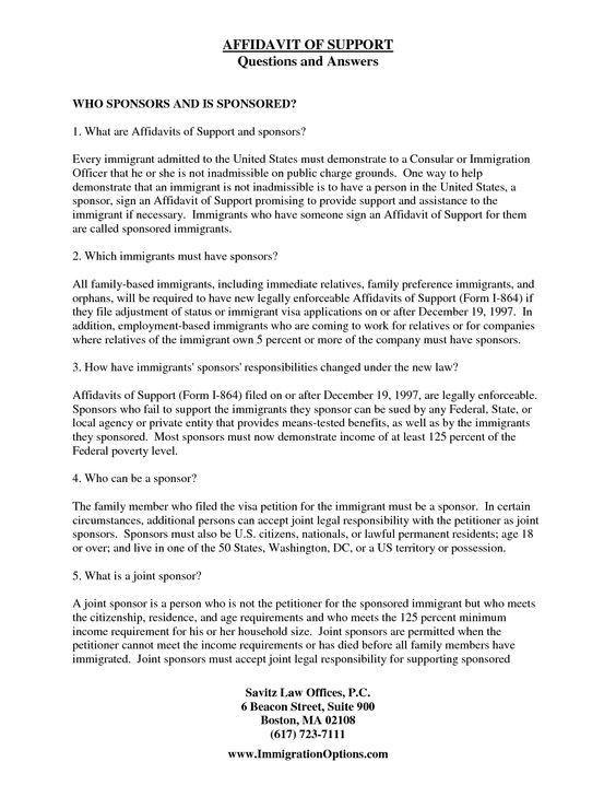 Immigration letter template 5 immigration reference letter immigration affidavit letter sample bagnas affidavit of spiritdancerdesigns Images