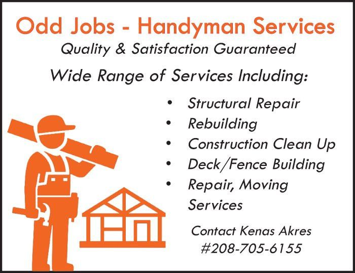 Ad Flyer for Odd Jobs - Handyman Services from Teton Valley News
