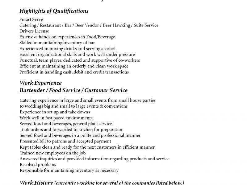 Vibrant Bartender Resume Sample 13 Bartender Resume No Experience ...