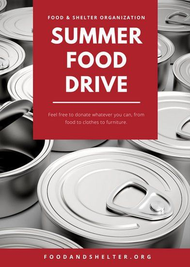Red Gray Boxes Canned Goods Food Drive Flyer - Templates by Canva