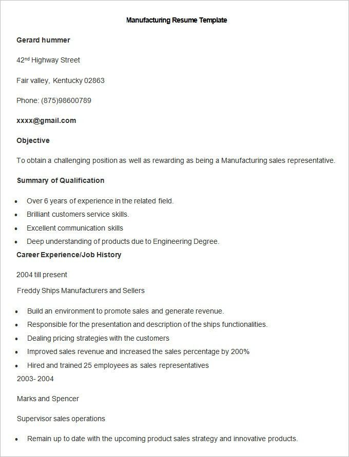 Brilliant Ideas of Manufacturing Resume Samples For Template ...