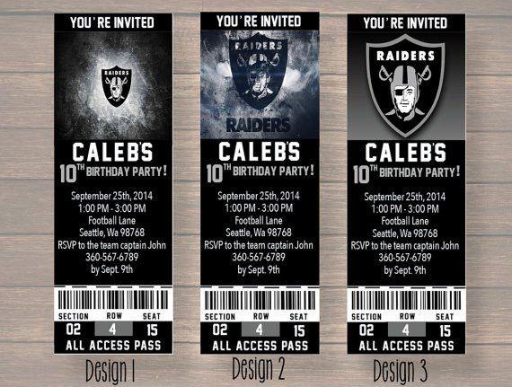 Oakland Raiders Custom Party Ticket Invitations Birthday
