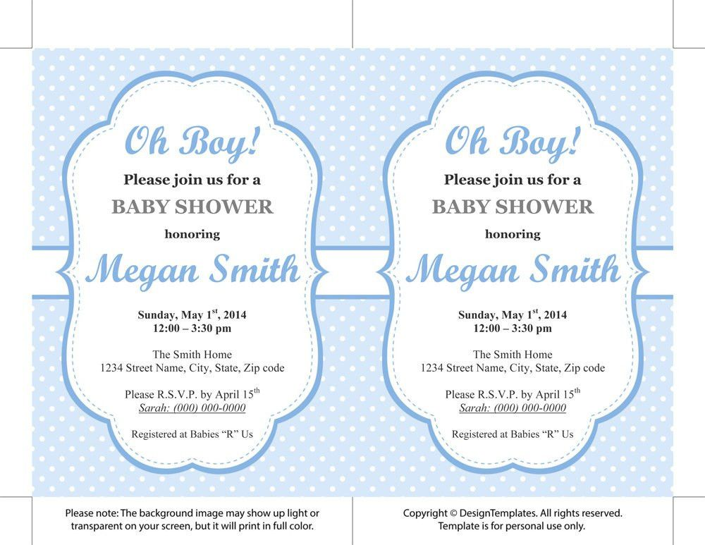 Baby Shower Invitations Template Word - Party XYZ