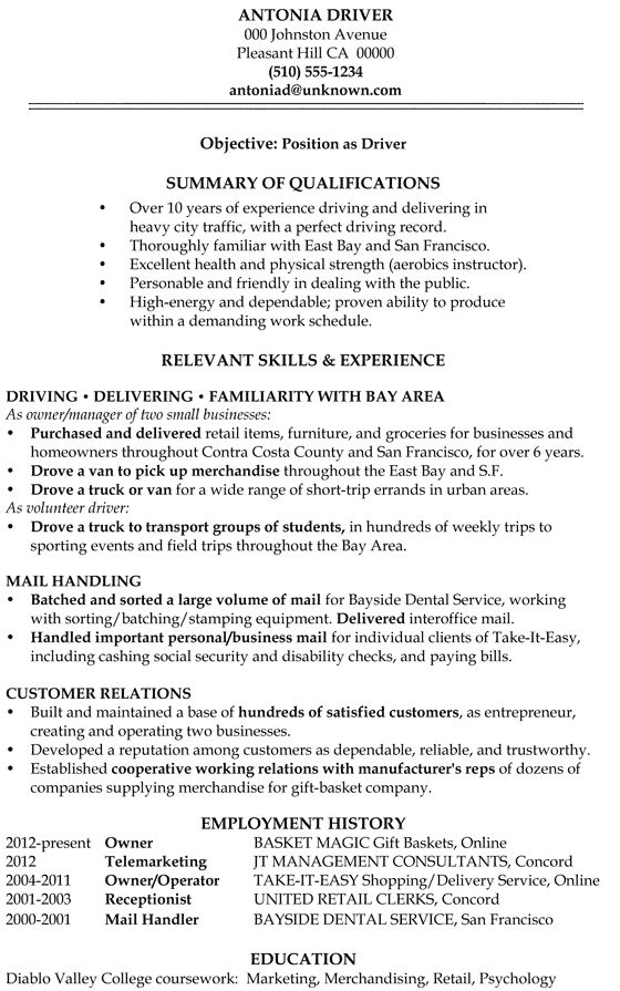 Resume Sample: Driver