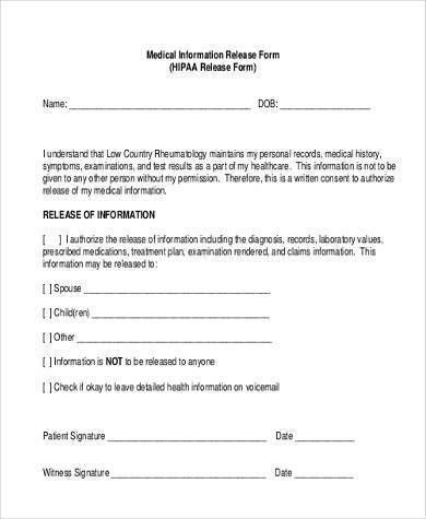Sample Medical Information Release Forms   8+ Free Documents In .