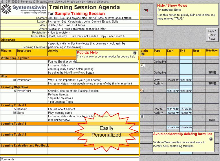 Training Plan template - Training Agenda template, Training ...