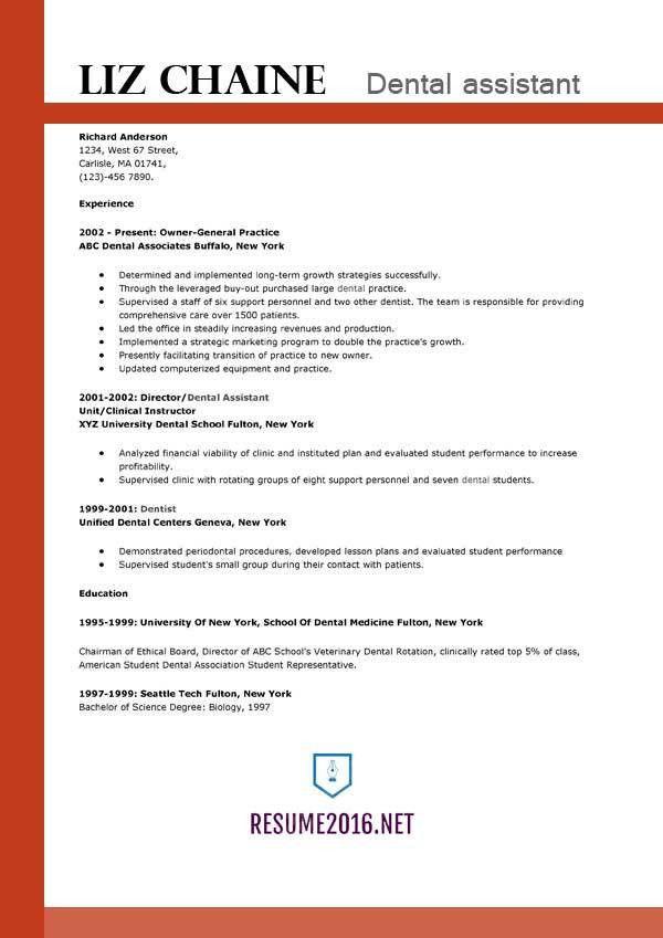 Dental assistant resume template 2016 - Get the job!