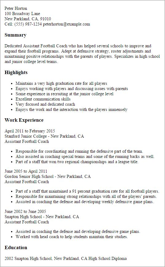 Prissy Inspiration Resume Coach 3 Professional College Football ...