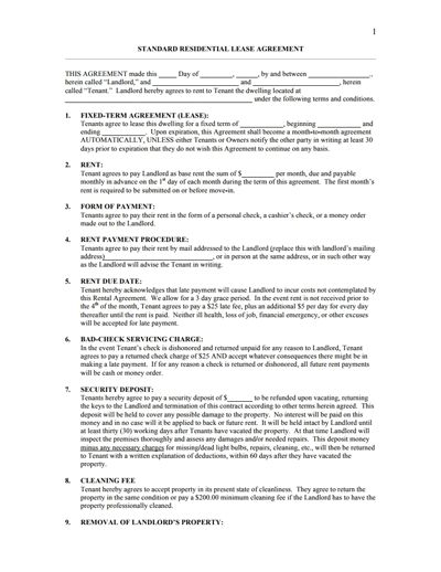 Residential Lease Agreement Template: Free Download, Edit, Fill ...