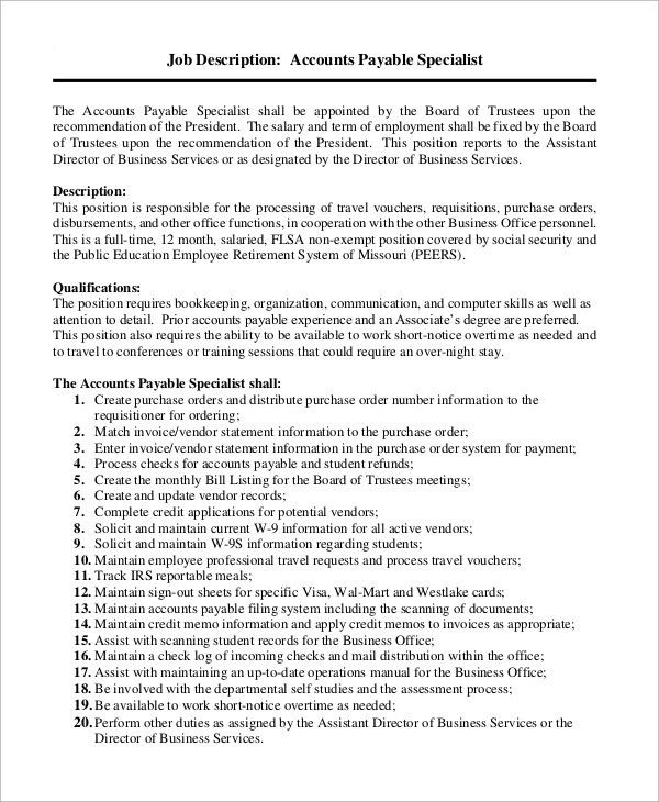 Sample Accounts Payable Job Description   9+ Examples In Word, PDF