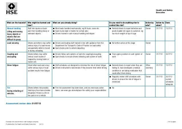 Amazing Sample Risk Assessment Roadhaulage